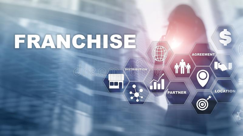 Franchise consept on virtual screen. Marketing Branding Retail and Business Work Mission Concept. stock images