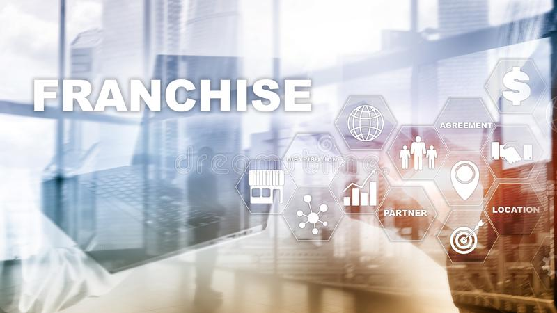 Franchise consept on virtual screen. Marketing Branding Retail and Business Work Mission Concept. Franchise consept on virtual screen. Marketing Branding Retail royalty free stock photography