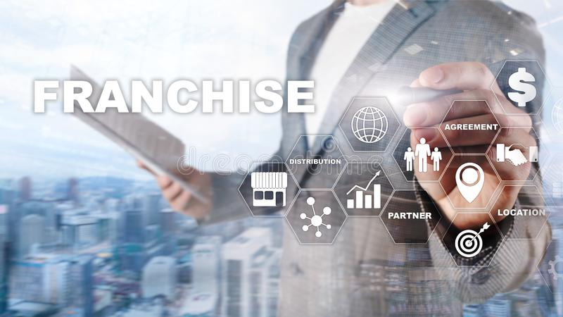 Franchise consept on virtual screen. Marketing Branding Retail and Business Work Mission Concept.  stock image