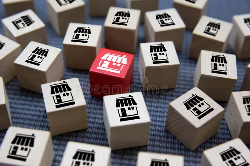 Franchise icons Store on wooden block. Franchise icons Store on wooden block concept stock image