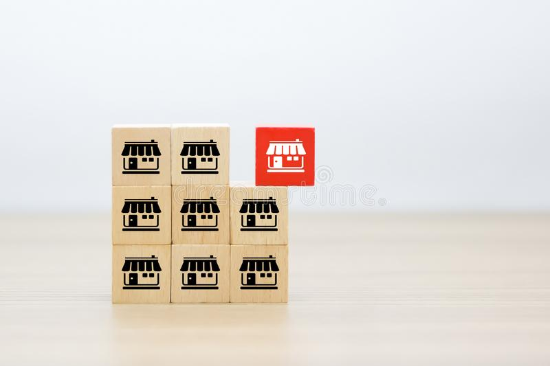 Franchise icons Store on wooden block. Franchise business marketing icons Store on wooden block Stacked in pyramid shape royalty free stock photos