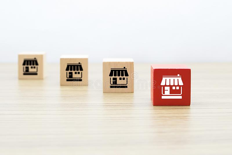 Franchise icons Store on wooden block. Franchise marketing icons Store on wooden block concept royalty free stock photo