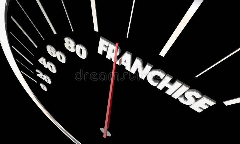 Franchise New Measure Success Speedometer. Franchise New Business Opportunity Measure Success Speedometer Word 3d Illustration vector illustration