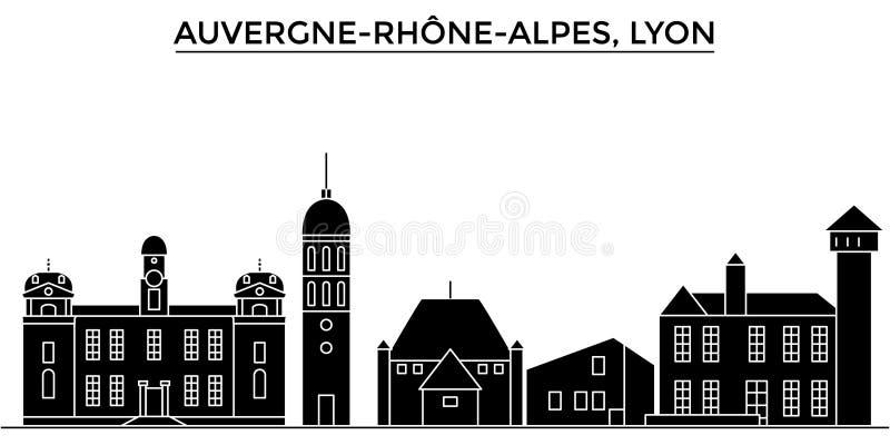 Francia, Auvergne Rhone Alpes, horizonte de la ciudad del vector de la arquitectura de Lyon, paisaje urbano del viaje con las señ libre illustration
