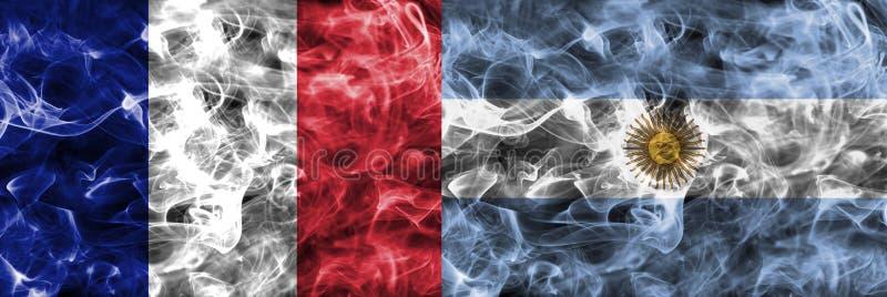 Francia contra la bandera del humo de la Argentina, finales cuartos, mundial 2018, Moscú, Rusia del fútbol stock de ilustración