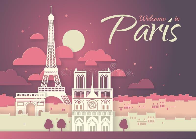 francia París con los símbolos de la ciudad - torre Eiffel, arco triunfal, Notre Dame Cathedral Cartel del estilo de Papercut foto de archivo