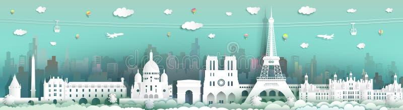 Francia que viaja con el coche, el globo y el aeroplano del cabel ilustración del vector