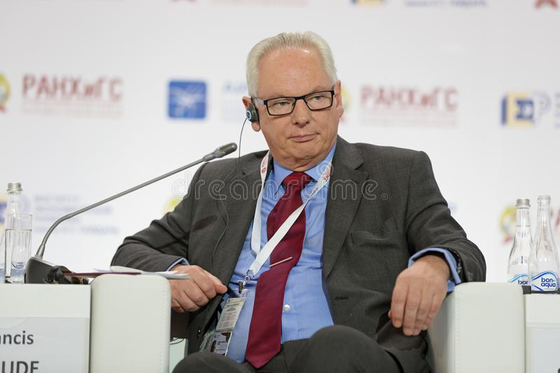Francis Anthony Aylmer Maude. MOSCOW, RUSSIA - JAN 17, 2018: Francis Anthony Aylmer Maude, Director, Francis Maude Associates LLP; Minister of State for Trade royalty free stock image