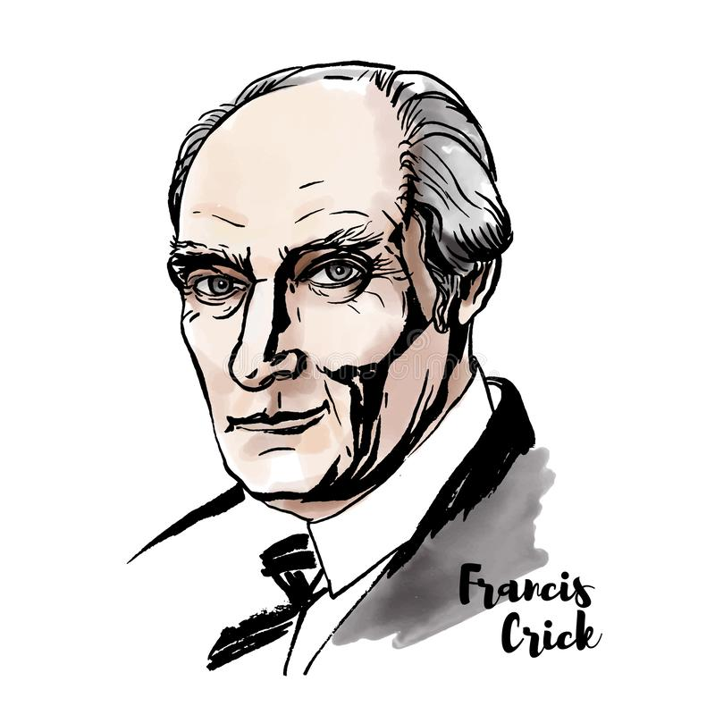 Francis Crick Portrait royaltyfri illustrationer