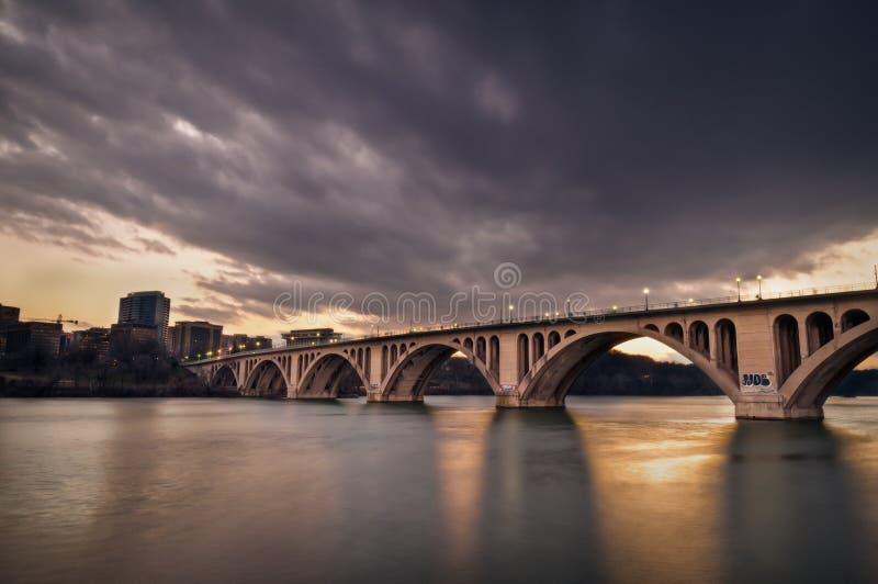 Francis Scott Key Bridge At Sunset stock image