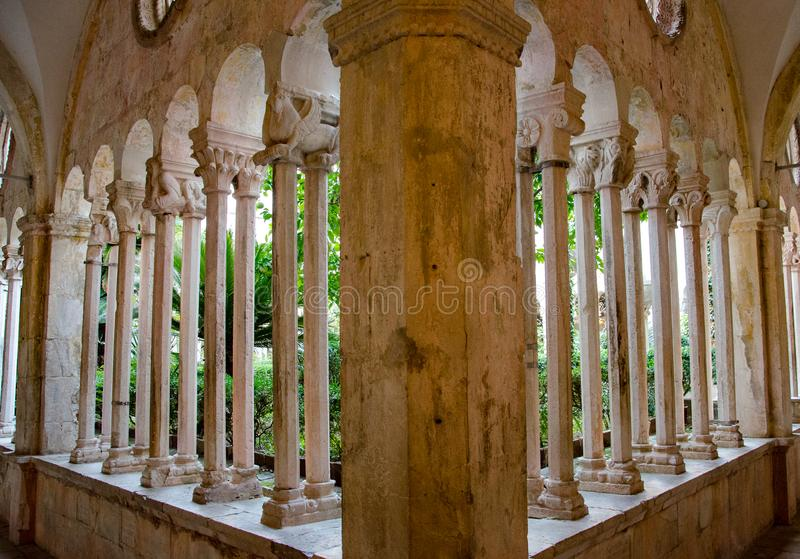 Inner Court of the Franciscan Monastery in Dubrovnik, Croatia. The Franciscan Church and Monastery is a large complex belonging to the Order of the Friars Minor royalty free stock images