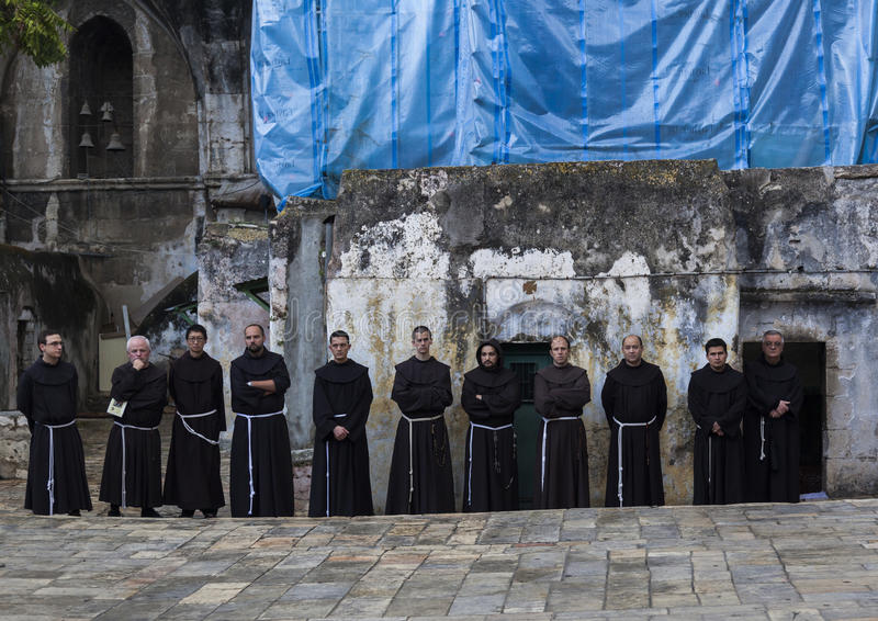 Franciscan Fathers on via Dolorosa procession. Jerusalem. Israel. Unidentified Fathers from Franciscan Order on traditional Friday Via Dolorosa (way of sorrows royalty free stock photo