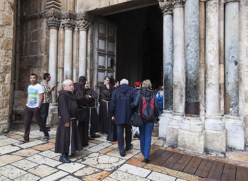 Franciscan Fathers on via Dolorosa procession. Jerusalem. Israel. Unidentified people and Fathers from Franciscan Order on traditional Friday Via Dolorosa (way royalty free stock image
