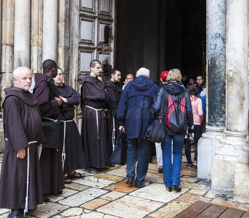 Franciscan Fathers on via Dolorosa procession. Jerusalem. Israel. Unidentified people and Fathers from Franciscan Order on traditional Friday Via Dolorosa (way royalty free stock photos