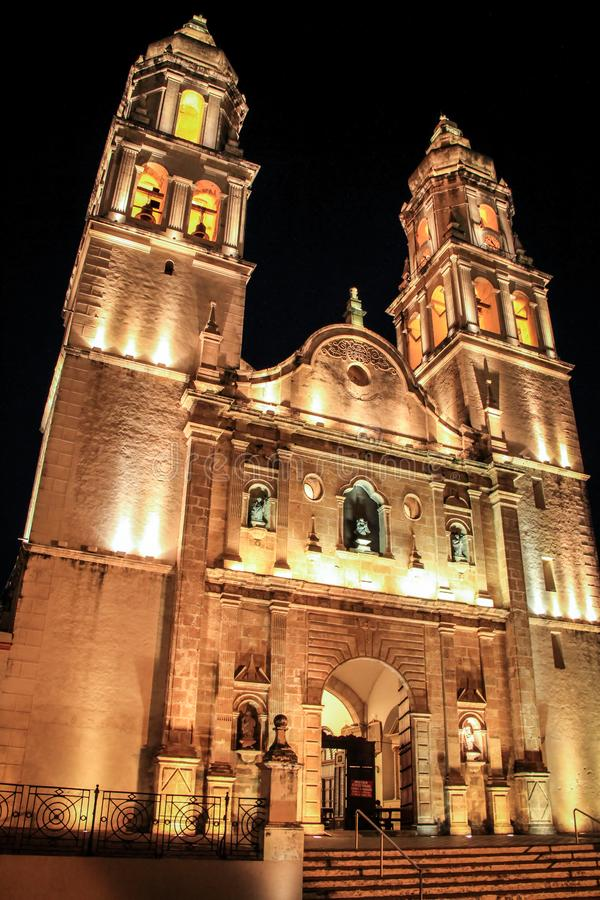 Franciscan kathedraal van Campeche 's nachts, Campeche, Mexico stock fotografie