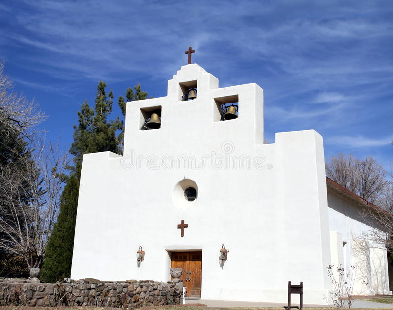 Franciscan Mission Church in Tularosa, New Mexico. This adobe St Francis de Paula Franciscan Mission church in Tularosa, New Mexico/USA was founded in 1865 stock photo