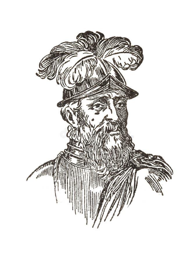 Francisco de Pizarro, Spanish Conqueror of Inca Empire. Badajoz, Spain - Jan 7th, 2019: Francisco de Pizarro portrait. Spanish Conqueror of Inca Empire. Draw vector illustration