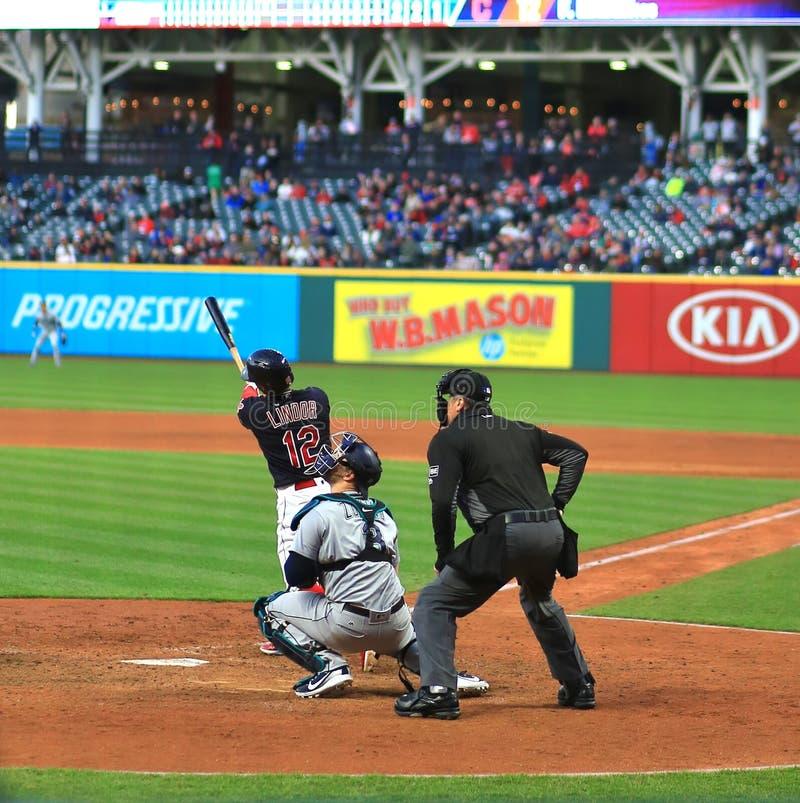 Francisco Lindor, Cleveland Indians Baseball game. Cleveland Indians Major League Baseball game at Progressive Field in Cleveland , Ohio, USA stock image
