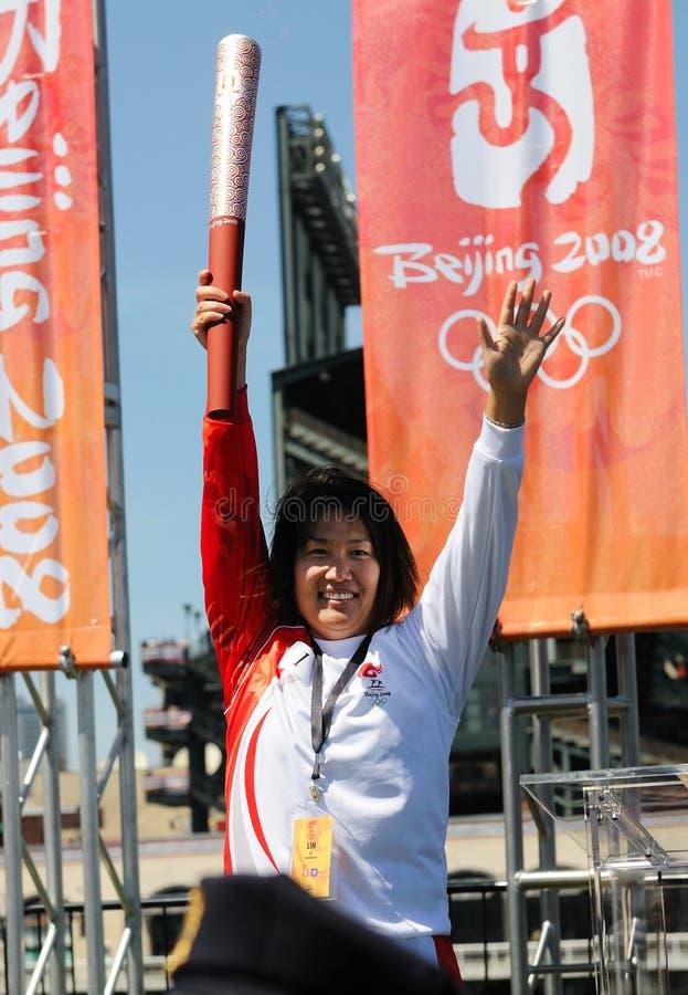 francisco olympic relaysan fackla royaltyfria foton