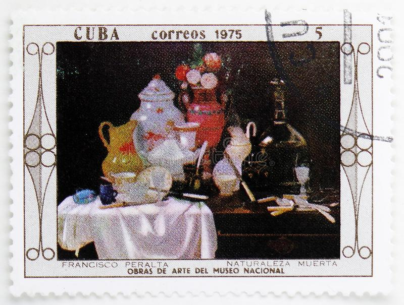 Francisco Peralta : Still Life, Paintings from the National Museum serie, circa 1975. MOSCOW, RUSSIA - JULY 25, 2019: Postage stamp printed in Cuba shows royalty free stock images