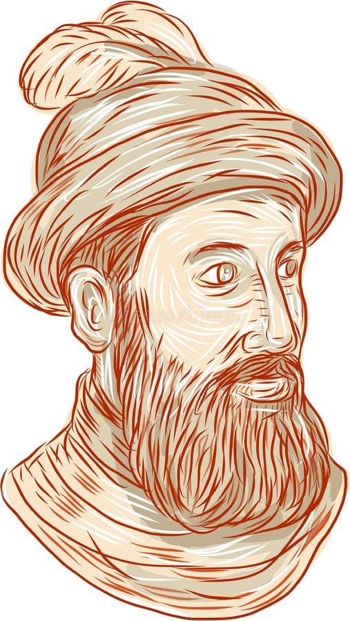 Francisco Pizarro Drawing illustration de vecteur