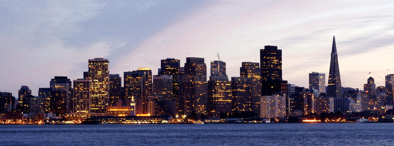 Francisco-Skyline lizenzfreie stockfotos