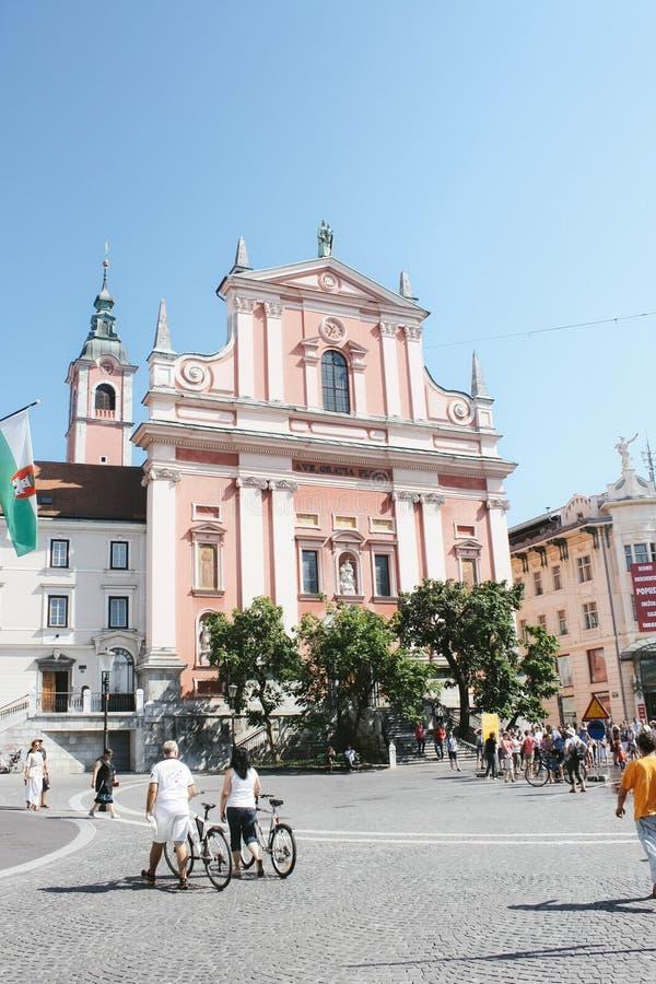 Franciszkański kościół Annunciation, Ljubljana obraz stock
