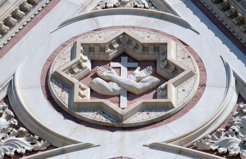 Franciszkanina znak, bazyliki Di Santa Croce Święty krzyż w Florencja bazylika zdjęcia stock