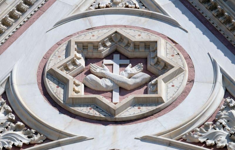 Franciszkanina znak, bazyliki Di Santa Croce Święty krzyż w Florencja bazylika obraz stock