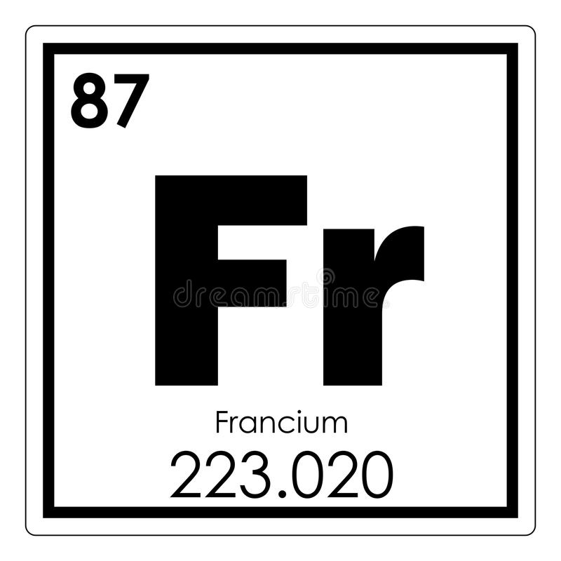 Francium chemisch element royalty-vrije illustratie