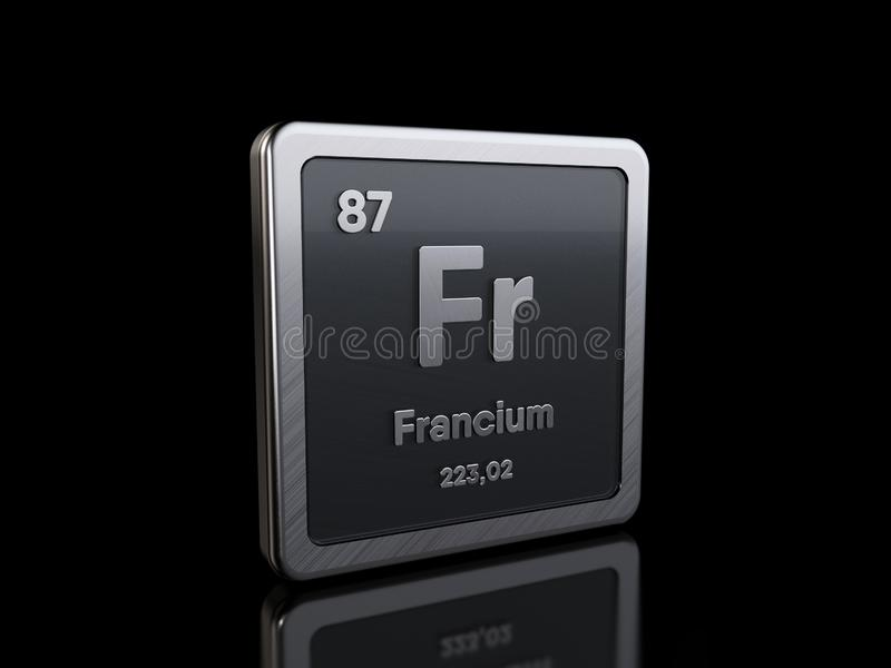 Francium Fr, element symbol from periodic table series stock illustration