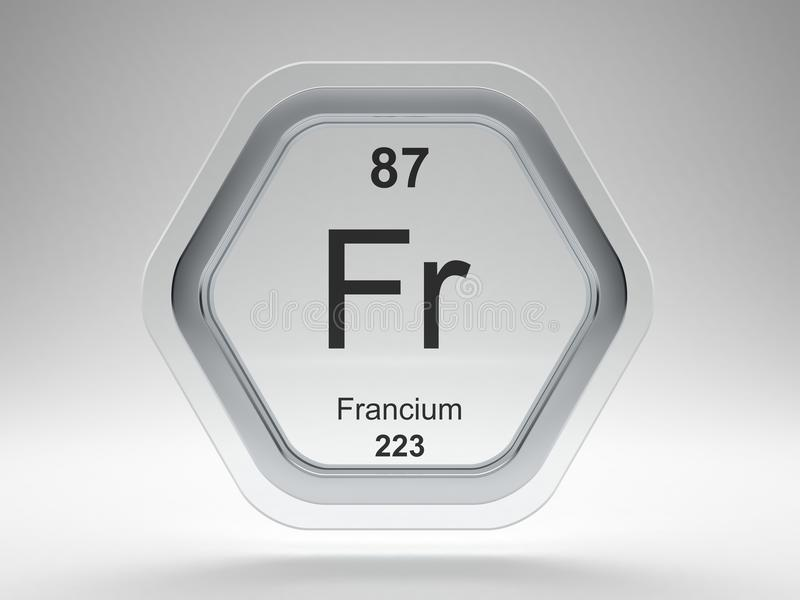 Francium symbol hexagon frame vector illustration