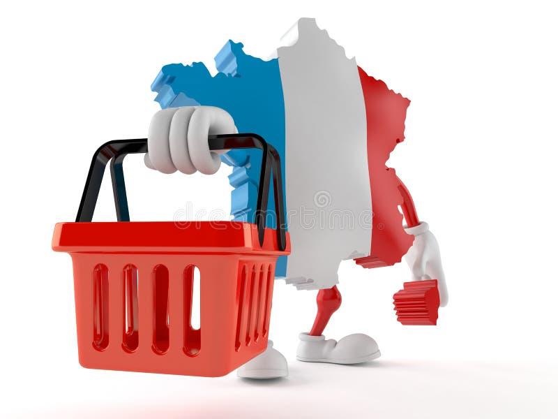 Francja charakteru mienia zakupy pusty kosz ilustracji