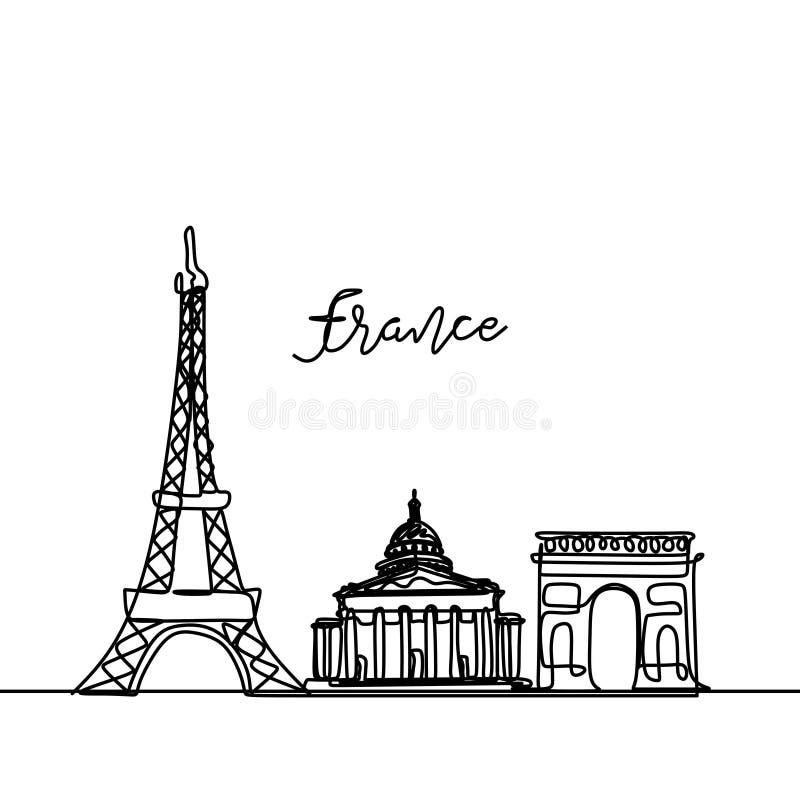 Francja ciągły rysunek Jeden kreskowego stylu miasta Paryski linia horyzontu Prosty nowożytny minimalistic stylowy wektor ilustracja wektor