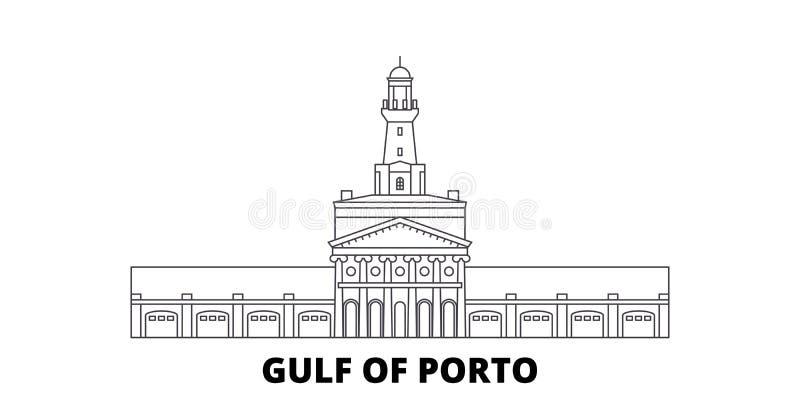 Francja, Corsica, zatoka Porto linii podróży linia horyzontu set Francja, Corsica, zatoka Porto konturu miasta wektoru ilustracja royalty ilustracja