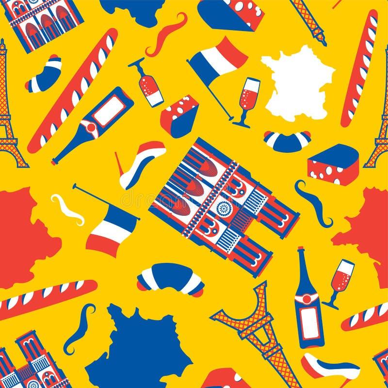 Francja deseniowy bezszwowy Krajowy Francuski symbolu tło Wieża Eifla i notre dame de paris Baguette i wino Wąsy i ilustracja wektor