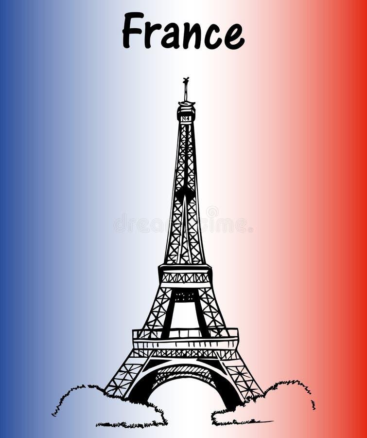 Francja flaga wieża eifla ilustracja wektor