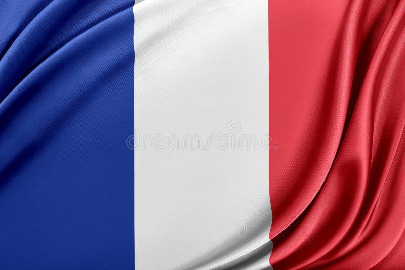 Francja flaga z glansowaną jedwabniczą teksturą ilustracji