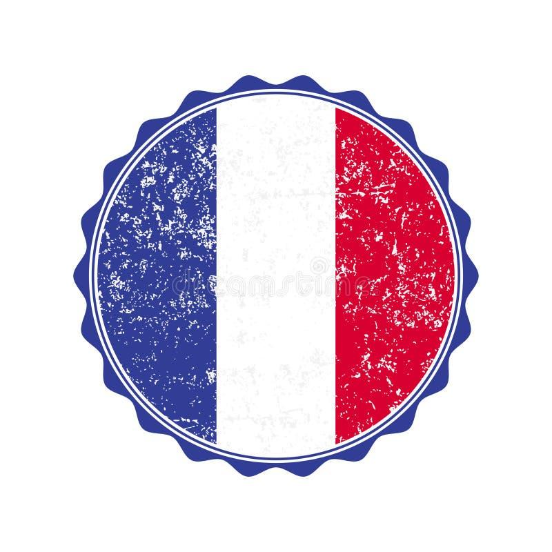 Francja flaga znaczek z grunge również zwrócić corel ilustracji wektora ilustracji