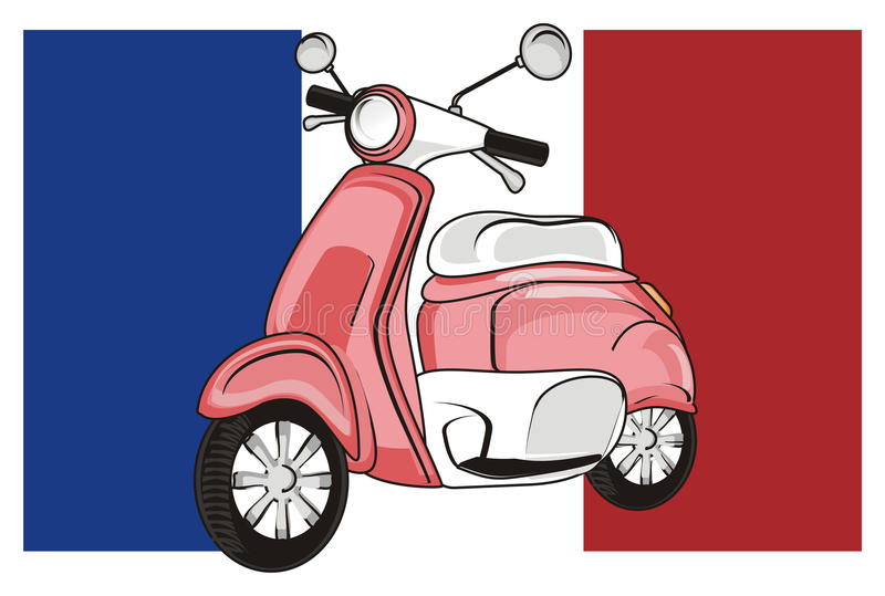 Francja i moped ilustracji