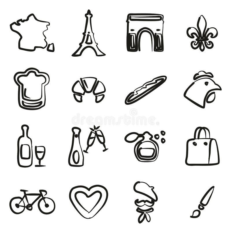 Francja ikony Freehand royalty ilustracja