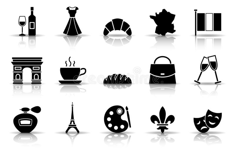 Francja ikony set royalty ilustracja