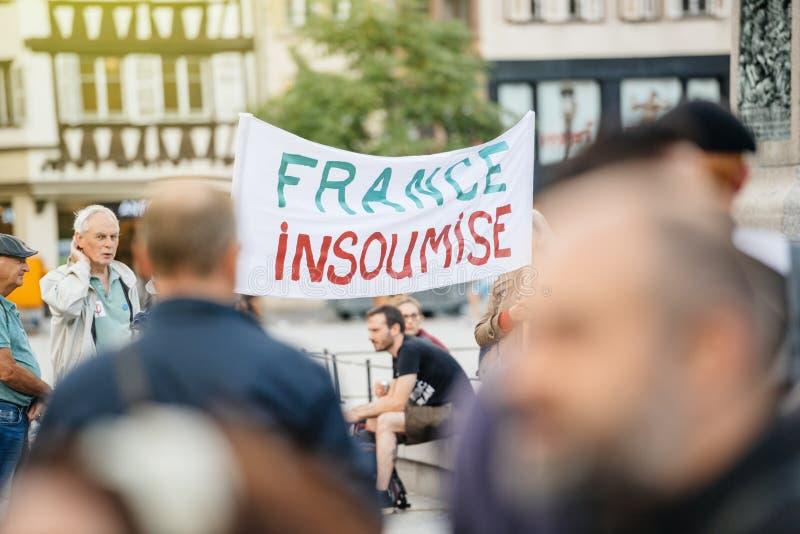 Francja insoumise plakat przy protestem w France obraz stock