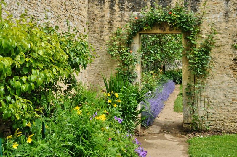 Francja, kanonu kasztelu ogród w Normandie fotografia stock