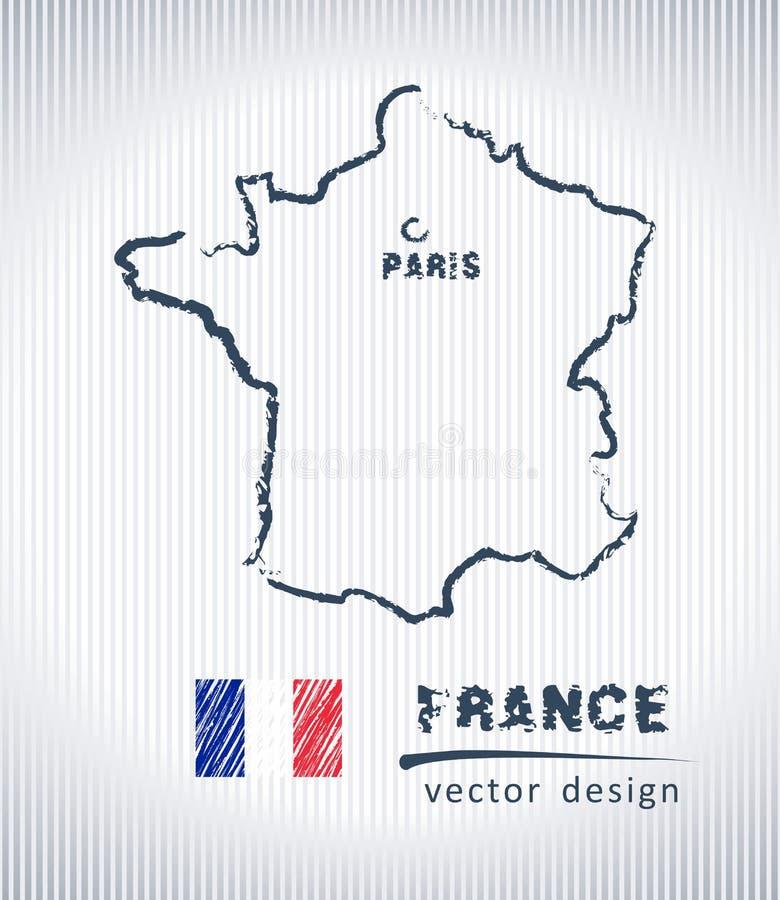 Francja kredowego rysunku wektorowa mapa odizolowywająca na białym tle royalty ilustracja