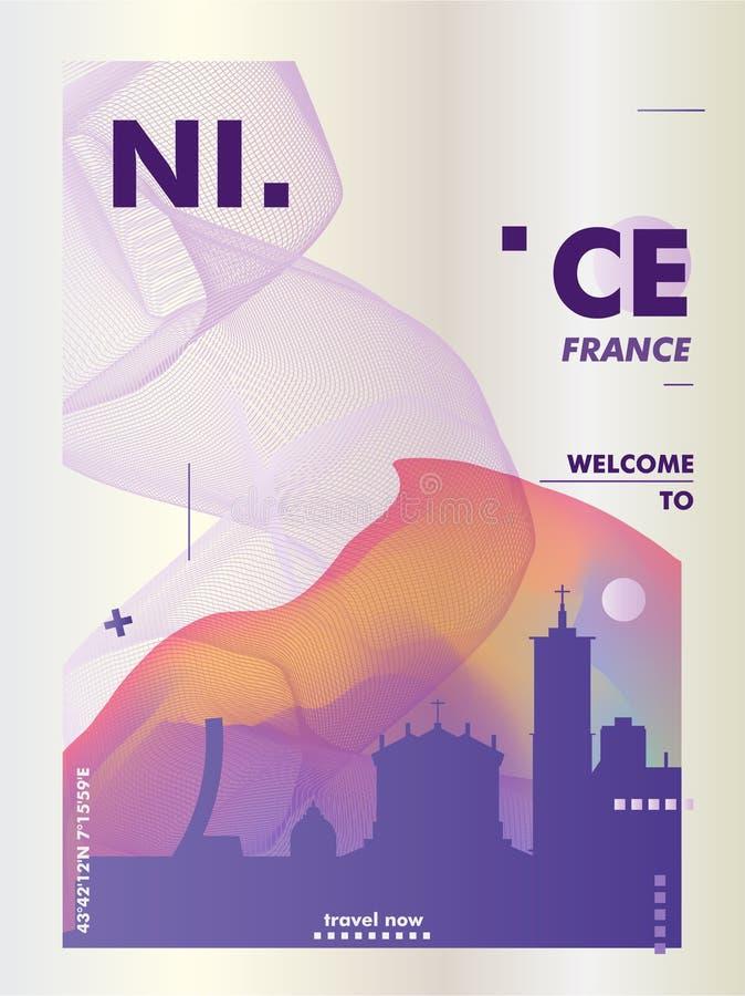 Francja linia horyzontu Ładnego miasta gradientowy wektorowy plakat obraz stock