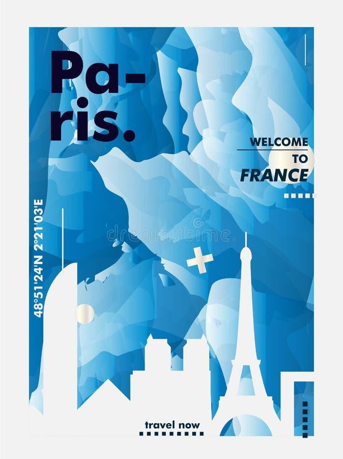 Francja linia horyzontu Paryskiego miasta gradientowy wektorowy plakat zdjęcia royalty free