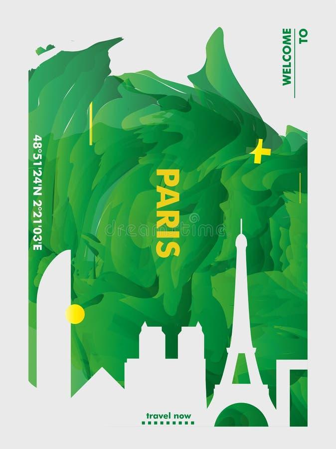 Francja linia horyzontu Paryskiego miasta gradientowy wektorowy plakat zdjęcie stock