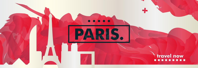 Francja linia horyzontu Paryskiego miasta gradientowy wektorowy sztandar fotografia stock