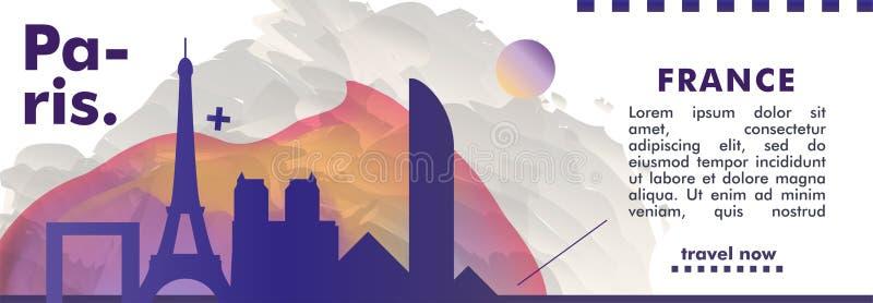 Francja linia horyzontu Paryskiego miasta gradientowy wektorowy sztandar fotografia royalty free